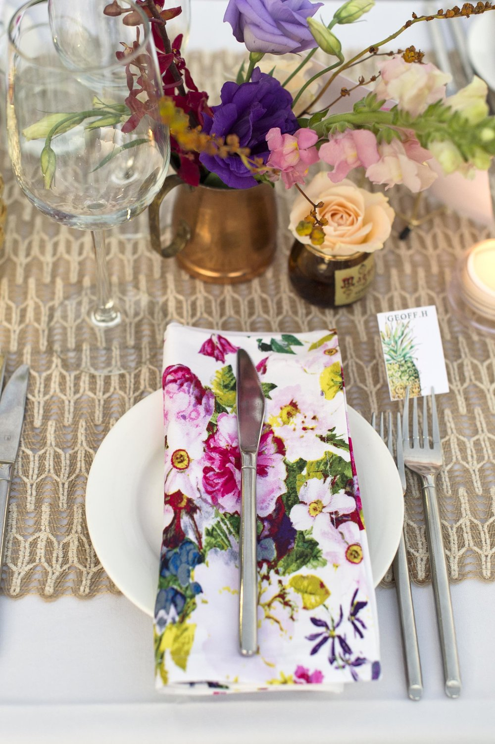 flowers were chosen to match the floral napkins