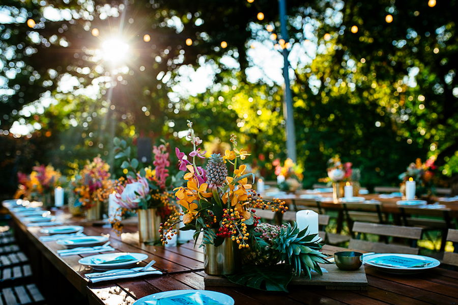 fresh flower table centrepieces at the Darwin Botanical Gardens