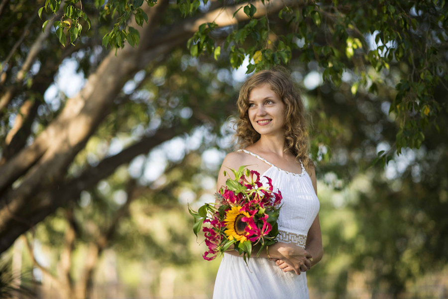 simple brides bouquet of local Darwin grown flowers