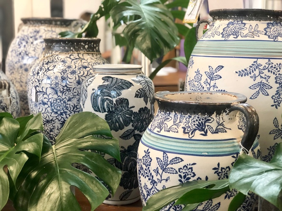 Blue and white vases and urns in store at the Darwin florist shop, Beija Flor, near Nightcliff