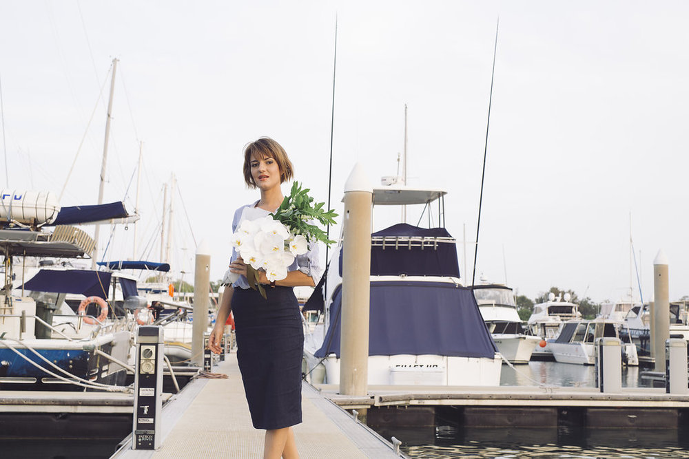 Flowers delivered to a sailing boat at Cullen Bay marina by Darwin florist, Beija Flor, photo by: George F