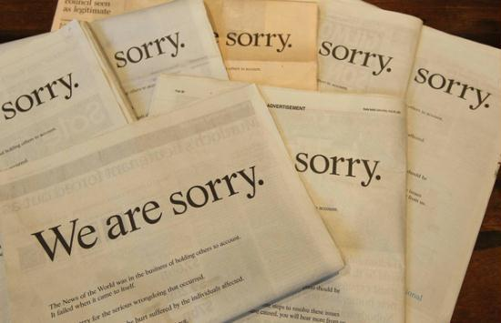 2011 copies of Rupert Murdoch's full page apology for the Daily Mail and News Interational's phone hacking scandal.