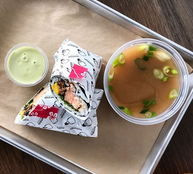 Miso and sushi burrito = Mama's version of soup and sandwich💋