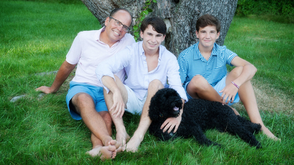Greg Mayes with his sons Conner (center), 18, and Tyler, 15.DANA BERENSON