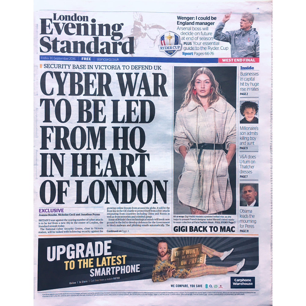 London Evening Standard. 2016 . (Printed Publication)
