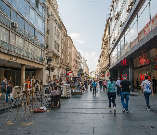 """Two popular streetscapes in Belgrade—Knez Mihailova and Skadarska—are two great examples of the Serbian capital's diverse and active urban spaces. Mihailova Street, pedestrianized in 1987, connects to the city's main square and is the commercial epicenter; Skadarska, also known as the """"bohemian quarter"""", is one of the oldest and most famous streets in Belgrade. In the evening, its traditional """"kafana"""" (tavern) restaurants boom with Serbian folk music and revelers fill the narrow, centuries-old cobblestone street."""