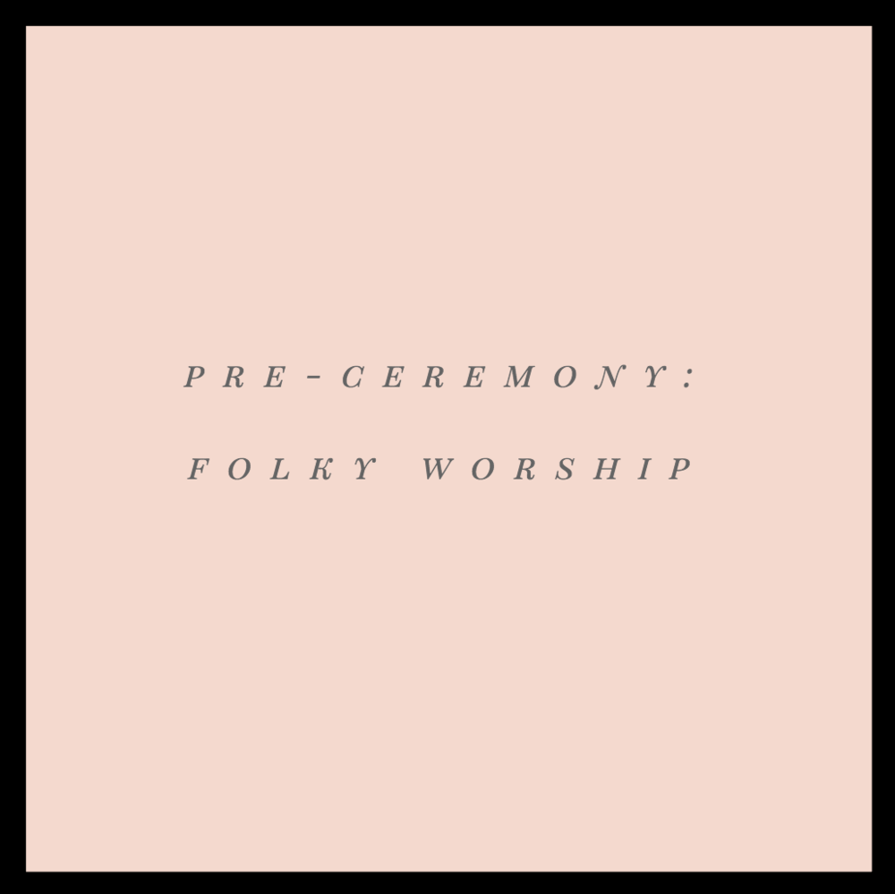 "Pre-Ceremony: Folky Worship   This will be playing as people are being seated at Lakeside Field. Filled with joyful, anthemic, Rend Collective vibes that serve as a notice: ""Hey! The gospel is amazing and thanking God is why we're here!"""