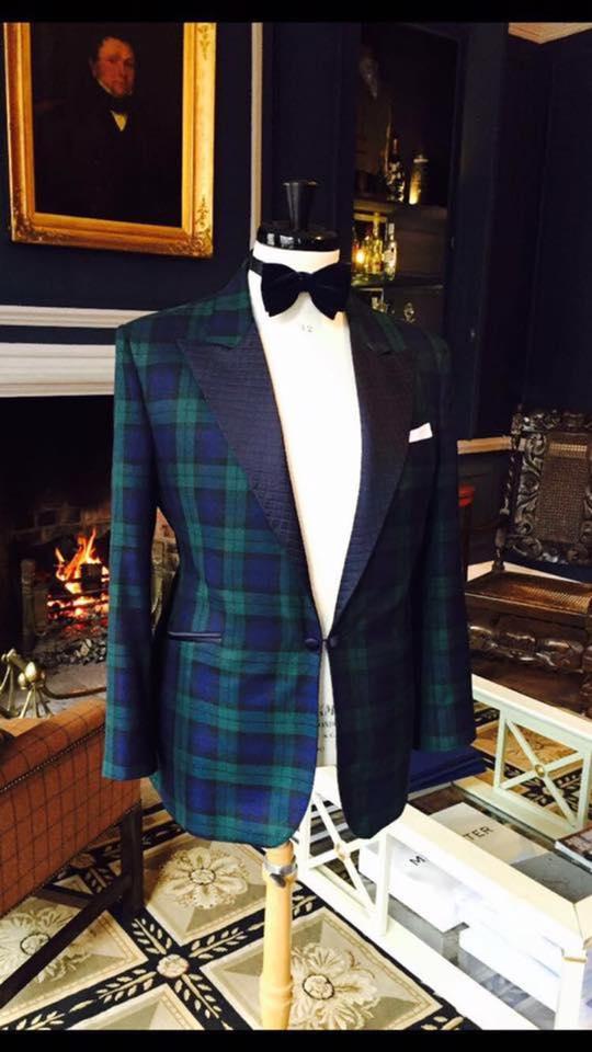 90d519419d520 Midnight Blue Velvet Tuxedo · Black Watch Tartan Tuxedo with Quilted Lapels