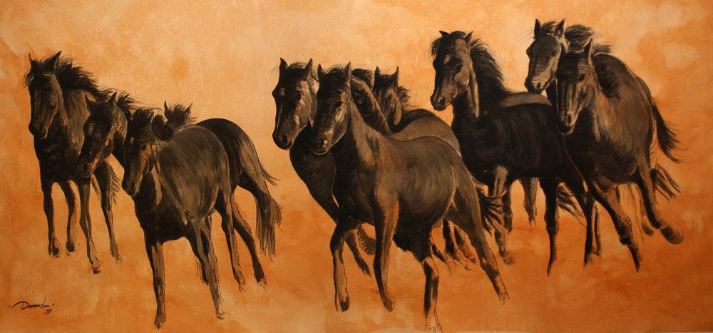"""""""Wild horses""""    124"""" x 50""""    Gouache on Paper"""
