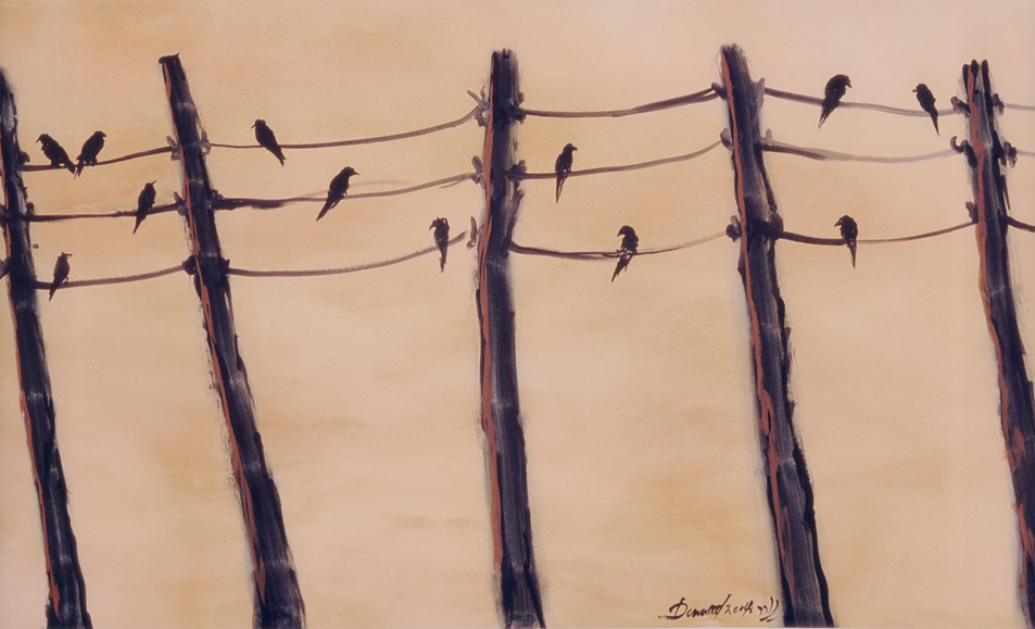 """Birds on a Wire""    Gouache on Paper"