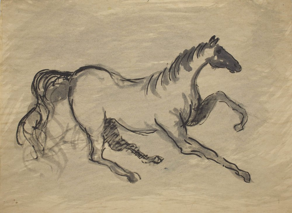 """Galloping Horse""    18"" x 13""    Ink On Parchment"