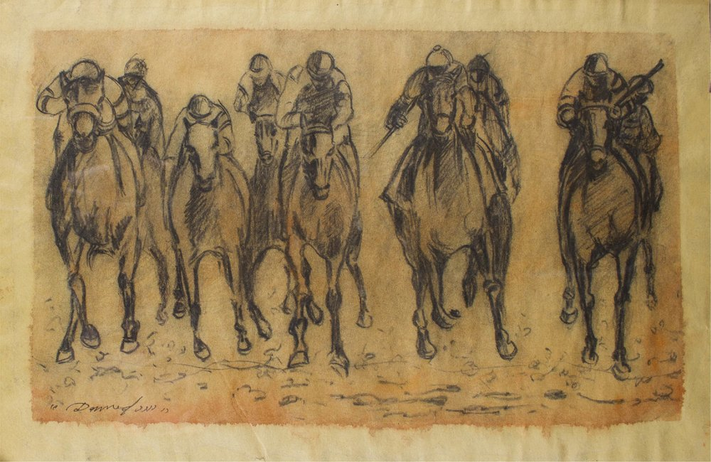 """horse Race Study""      18"" x 12""      Charcoal and    Gouache on paper"