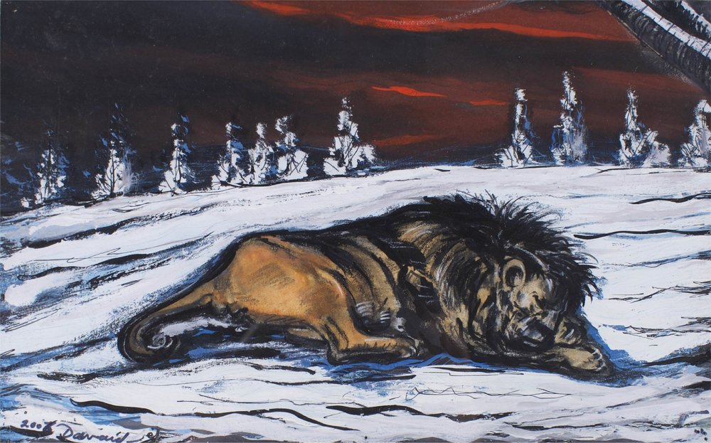 """Lion In Snow""    12"" x 17""    Gouache on Paper"