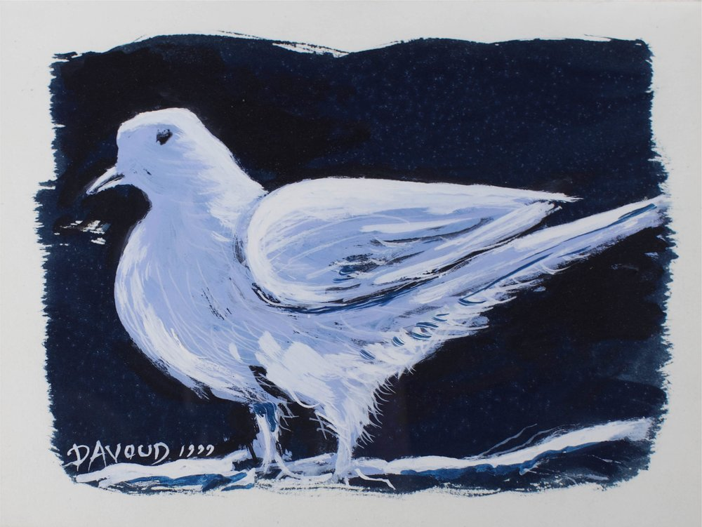 """Winter Dove""      10"" x 7""     Gouache On Paper"