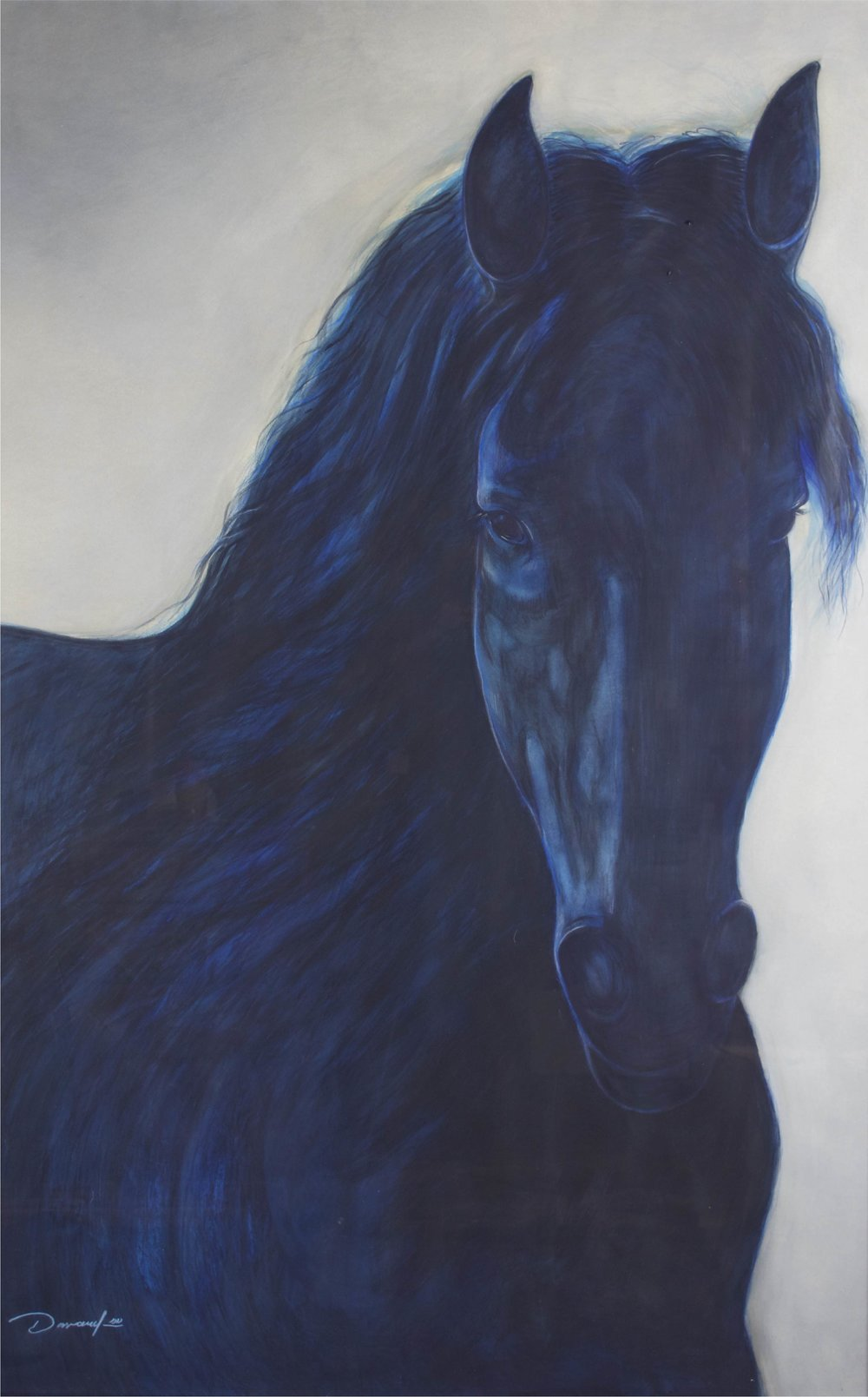 """Blue Horse""     70"" x 46""     Gouache on Paper"