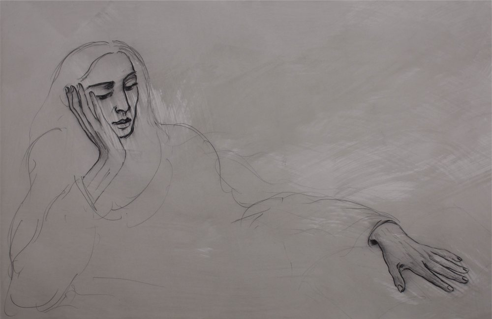 """""""woman Leaning head on hand""""      44"""" x 30""""      Charcoal on Paper"""