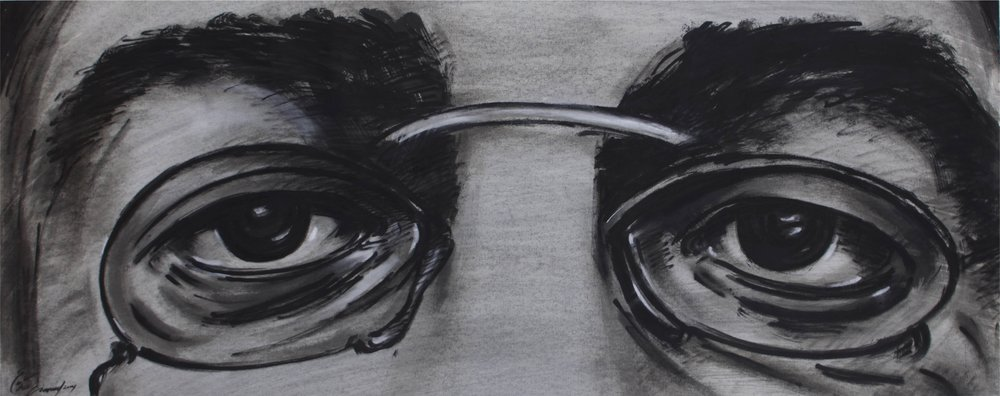 """""""Toulouse's Eyes""""    59"""" x 31""""    India ink on Paper"""