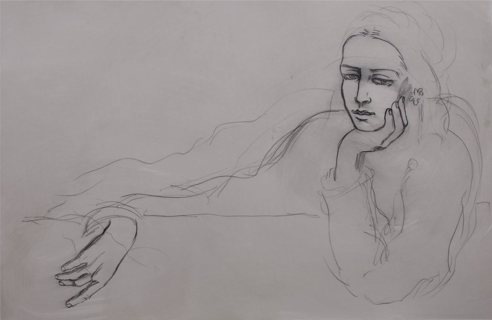 """""""Woman leading Chin on Hand""""    44"""" x 30""""    Charcoal on Paper"""