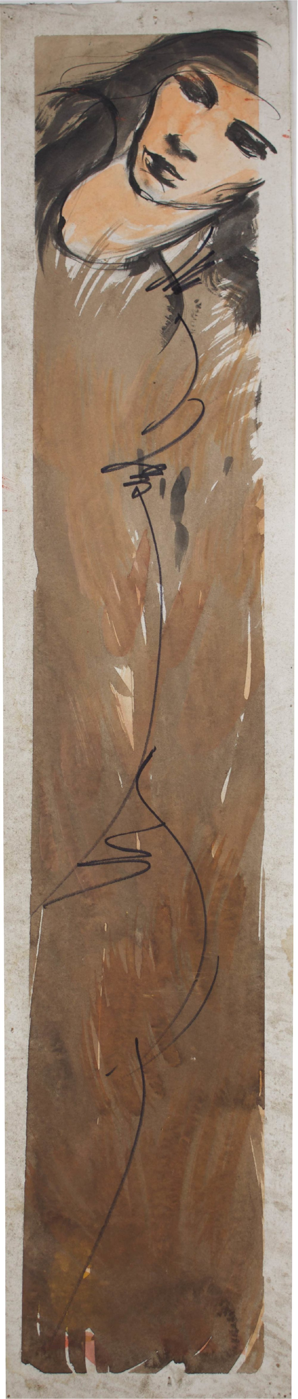 """""""Clay Colored Lady""""     29"""" x 6 """"     Gouache on Paper"""