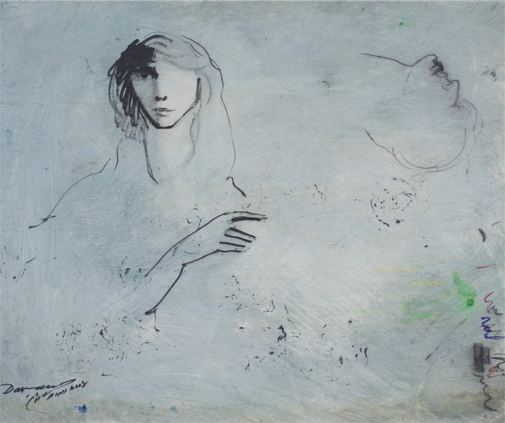 """""""Ghost of a Woman""""    41"""" x 34""""    Ink,Gouache and Charcoal on Paper"""