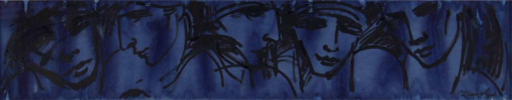 """""""five blue faces""""      42"""" x 12""""     gouache and Ink on Paper"""
