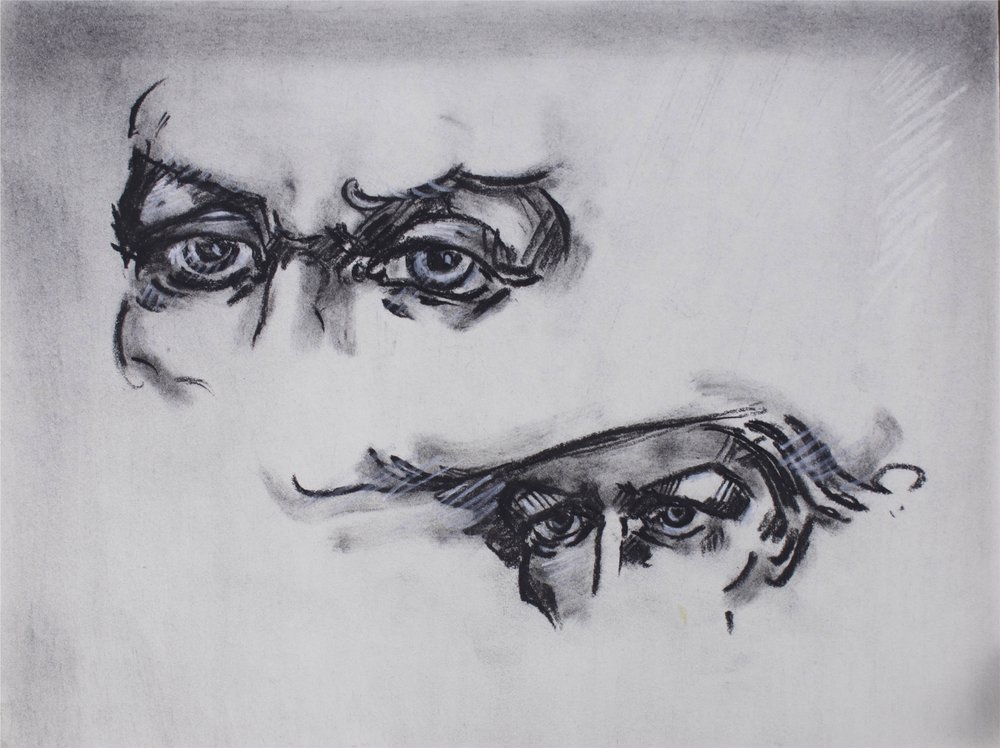 """""""four Eyes""""      8"""" x 6""""      Charcoal on Paper"""