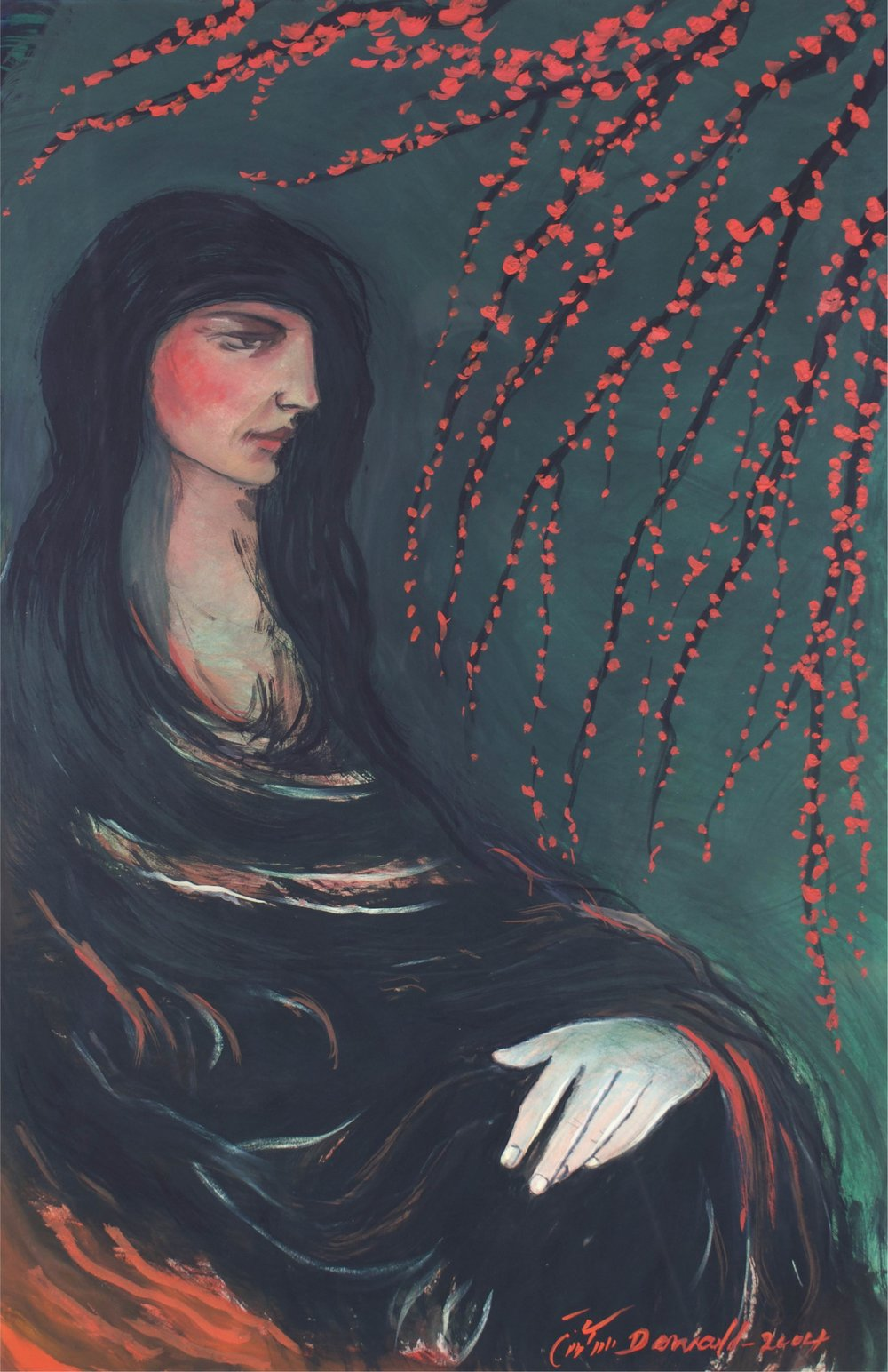 """""""Woman with Red Branches""""      32"""" x 46""""      Gouache on Paper"""