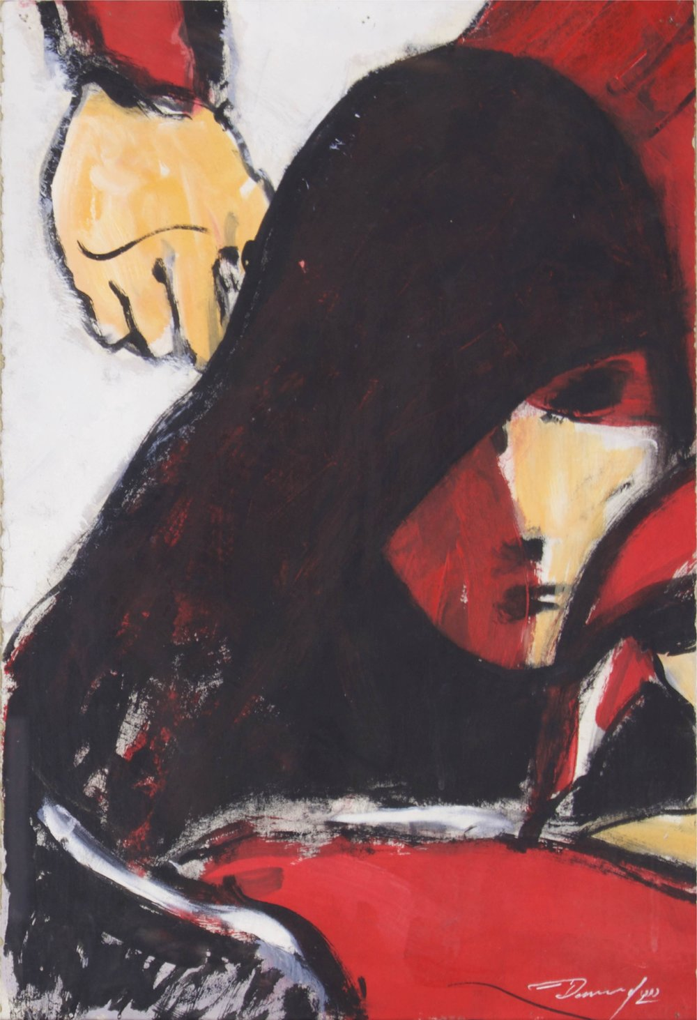 """""""Woman and Hand""""    12"""" x 18""""    Gouache on Paper"""