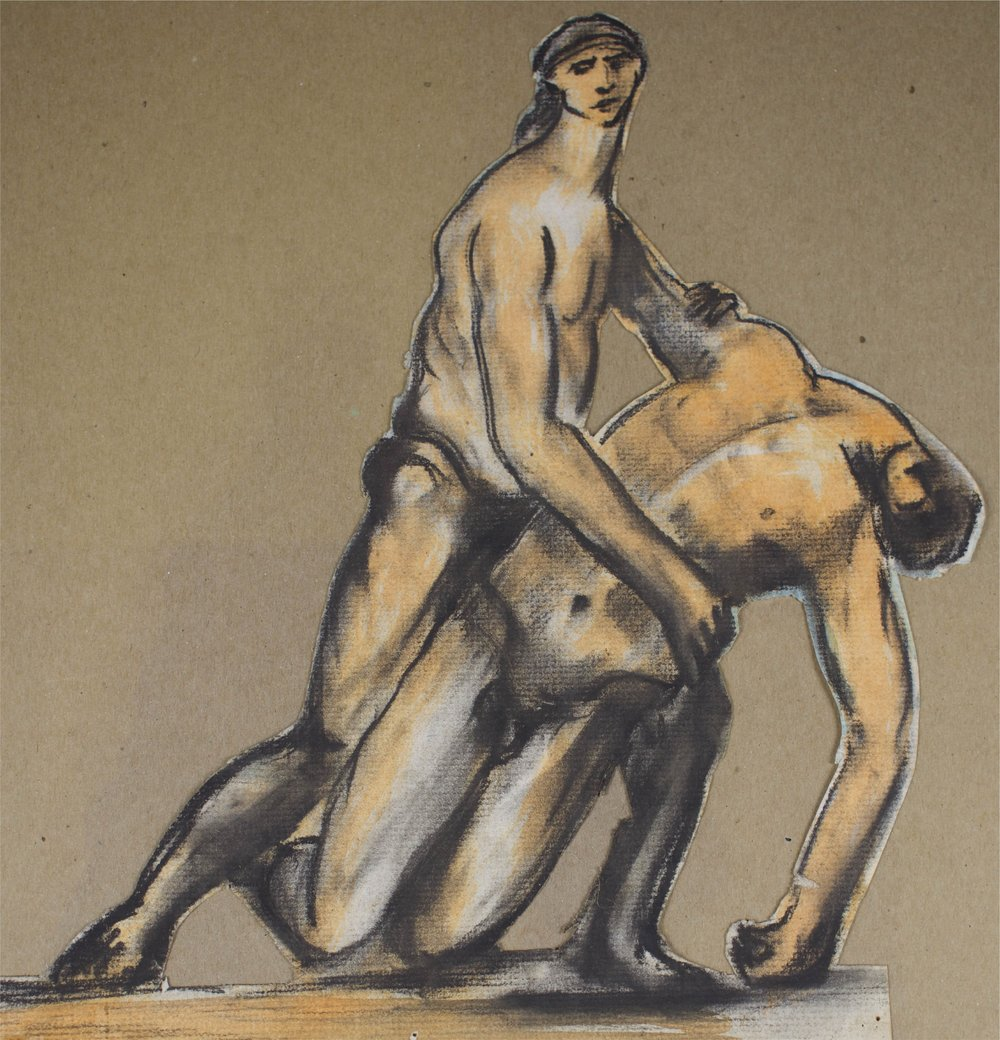 """""""men in Pain""""    11"""" x 12""""    Gouache and Charcoal on Paper"""