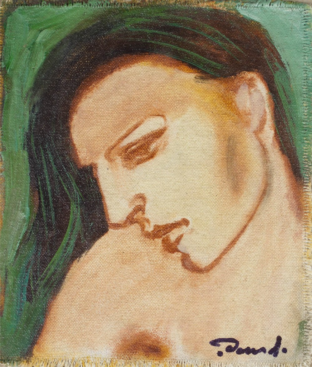 """Green Lady""    6"" x 6""    Gouache on Canvas"