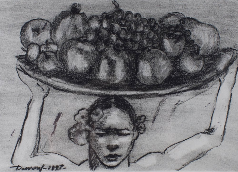 """""""Woman with Fruit""""      14"""" x 11'      Charcoal on paper"""