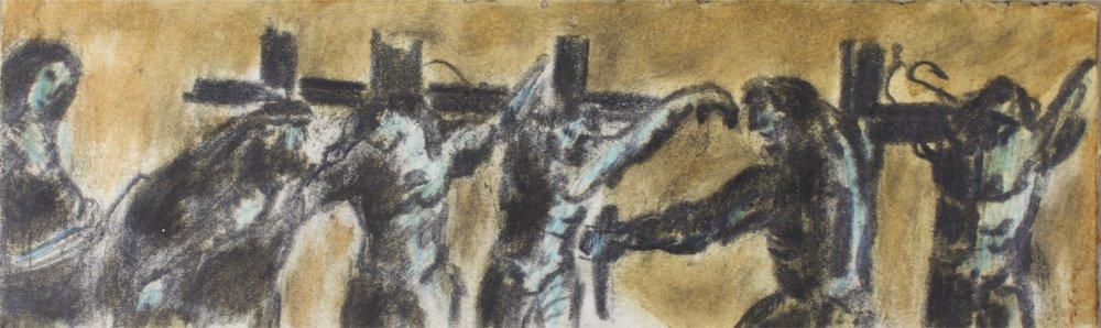 """""""Four Crosses""""      10"""" x 3""""     Gouache on Paper"""
