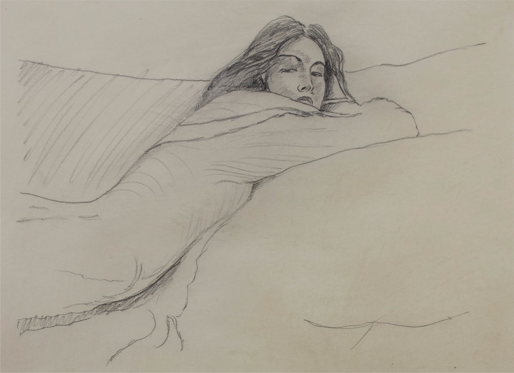 """""""Woman laying on Stomach""""      29"""" x 23""""      Charcoal on Paper"""