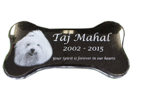 "12""x6"" Laser Etched Dog Bone (Jet Black)"