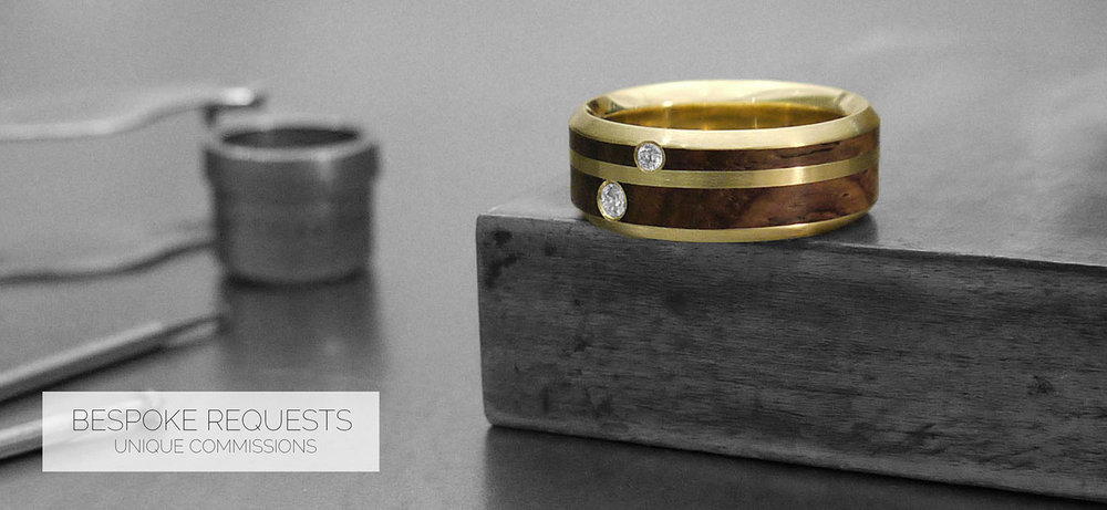 Tell your own unique story with a bespoke ring. We welcome any alterations to our standard designs - adjusting all widths, fits and finishes to suit. All our jewellery is handcrafted in our workshop based in United Kingdom.