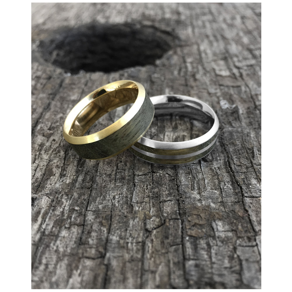 titanium comfort teak rounded product and inlay wood t with rings contemporary ring jewellery