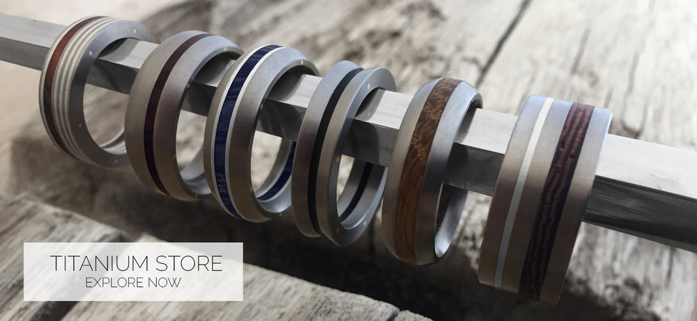 Our exclusive titanium and wood ring collection has been created with the utmost attention to detail. This unique metal is naturally gunmetal grey in colour, incredibly durable, hypoallergenic and surprising lightweight. An ideal choice for a gent's wedding ring
