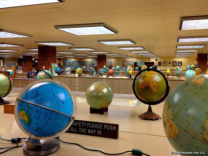 Globes on display at AGSL.