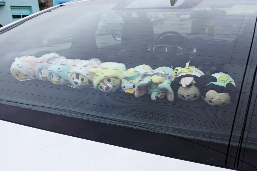 Easter Tsum Tsum Collection in Back Dash Car Photo by Elsie Chang.All Rights Reserved.