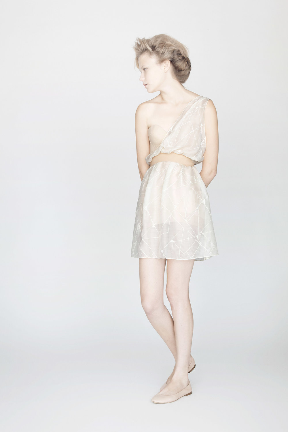 ASYMMETRIC MOUSSELINE DRESS IN HAND PRINTED SPIDERWEB PRINT.jpg