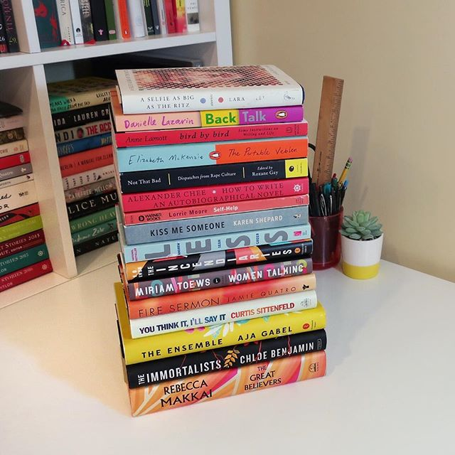 MY BEST BOOKS OF 2018!! - - I celebrated the New Year with a nasty cold so forgive me for playing catch up. I still haven't even finished posting about the books I read in the last few months, but oh well. New year, fresh start, and all that. - - This year I decided not to waste time on books I wasn't enjoying. No obligatory reads or books my guilt pressured me into picking up (a problem for anyone else?). If I found myself struggling to pick up a book, I put it away. That means I had a whole lot more time for books I did love so my favorite books of 2018 stacked up! - - Of this stack, the ones that stick out the most to me as blowing me away or having a huge impact on me or my writing were THE INCENDIARIES by R.O. Kwon BACK TALK by Danielle Lazarin THE GREAT BELIEVERS by Rebecca Makkai and HOW TO WRITE AN AUTOBIOGRAPHICAL NOVEL by Alexander Chee, but the longer I look at this stack, the more I feel the need to rave about each and every one of them. - - I'm trying to blog a bit more so if that's what you're into, you can find more of my thoughts at bethanygrow.com/blog (link in profile) - - #2018readingwrap #2018books #bookstagram #bookstack #bookish