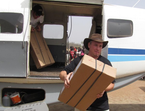 Brad unloading medicines