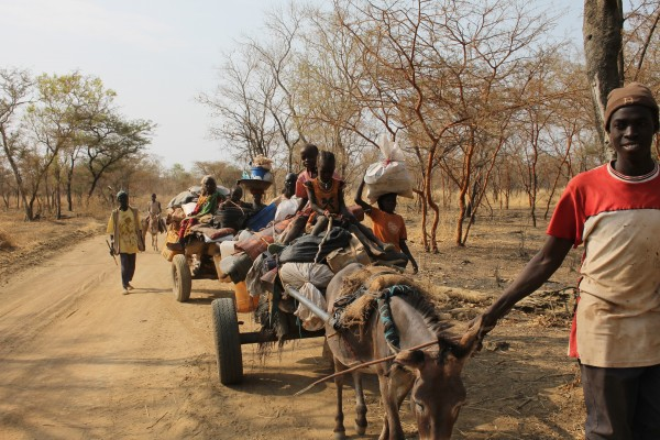 Refugees fleeing the fighting in the Nuba Mountains.