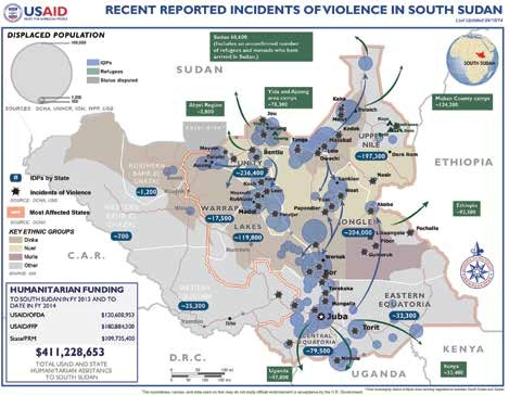 A USAID map showing areas of conflict in South Sudan