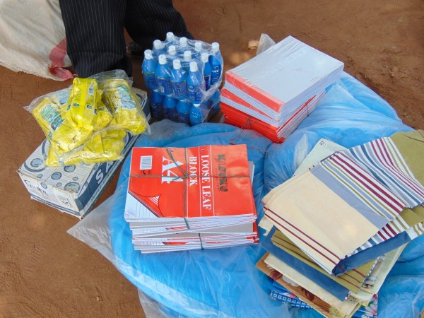 Soap, blankets, water purifiers, and school supplies were also delivered.