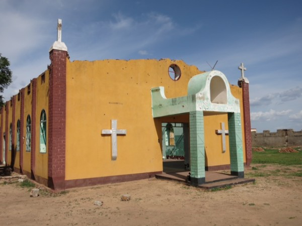 A destroyed church building in Abyei, Sudan