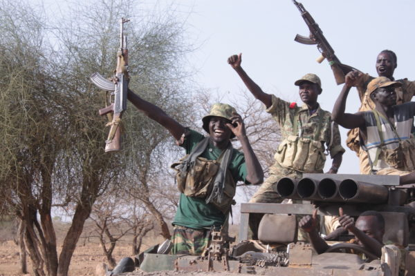 Nuba soldiers celebrate a victory.