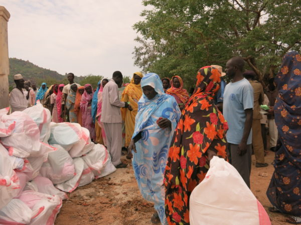 Local Nuba church distributing relief kits