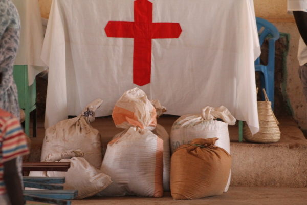 Offering of food donated by Nuba church