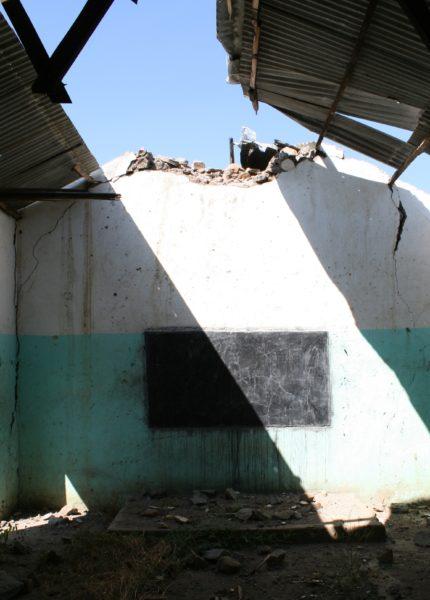 A damaged classroom
